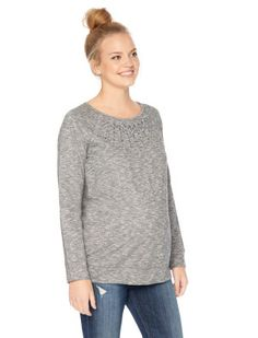 Motherhood Maternity Long Sleeve Scoop Neck Embellished Maternity Sweatshirt