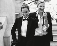 Emily Blunt and Cate Blanchett, photographed by Peter Lindbergh for IWC Schaffhausen, 2014.