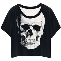 Black Ladies Crew Neck Skull Printed T-shirt ($10) ❤ liked on Polyvore featuring tops, t-shirts, shirts, black, crewneck t-shirt, black t shirt, skull tee, black skull top and black top