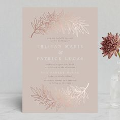 """Foiled Branches"" - Foil-pressed Wedding Invitations in Poppy by Katharine Watson."