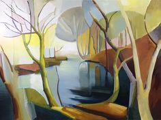 Lindsey Hambleton - large painting - oil on canvas - Flooded Wood - 240 x Rise Art, Mid-century Interior, Buy Art Online, Contemporary Artwork, Large Painting, Oil On Canvas, Objects, Wood, Artist