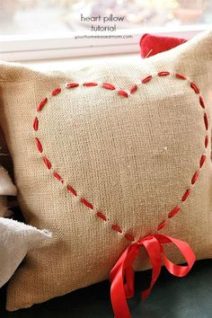 Valentine Pillow Tutorial : Add some ribbon to a hessian cushion cover. This simple Valentine Pillow Tutorial shows you how to create a darling pillow with a piece of ribbon! Diy Valentine's Pillows, Food Pillows, Sewing Pillows, Cushions, Pillow Ideas, Decorative Pillows, Valentines Day Decorations, Valentine Day Crafts, Valentine Heart