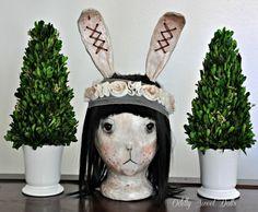 Oddly Sweet Big Bunny OOAK Art Doll BUST w/ by OddlySweetDolls,