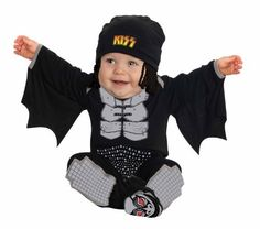 Kiss The Demon Onesie Costume Rubie's Costume Co. $18.64. Hand Wash. Details include yarn glam-rock hair and hanging bat wings. 100% Polyester. Newborn fits up to 17 pounds and 27 inches, infant fits up to 22 pounds and 30 inches. Look for kiss costumes in sizes for every member of the family. Officially licensed kiss costume features a printed onesie, pants, headpiece, and booties. Family owned and family focused, rubie's has been a world leader in bringing you fun for every se...