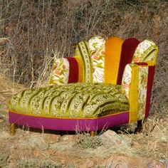 Channel Tufted Chaise Lounge    A Vintage Renewal Brand.    I LOVE the vibrancy and patchwork!