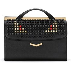 Fendi 'Demi Jour' Studded Monster Shoulder Bag (705.760 HUF) ❤ liked on Polyvore featuring bags, handbags, shoulder bags, real leather handbags, studded leather handbag, studded handbags, fendi purses and leather shoulder handbags