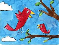 Art Projects for Kids: Birds in a Tree Painting