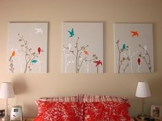 Vinyl wall art on a canvas? Great idea and so much easier to move then putting the decals directly on the wall.