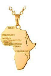 Africa Necklace Rose Gold Africa Gold and Necklace chain