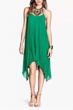 Love this Dress! Emerald Green Irregular Hem Slip Beach Dress #Chic #Emerald #Green #Irregular_Hem  #HiLo #Summer #Beach #Dress #Fashion