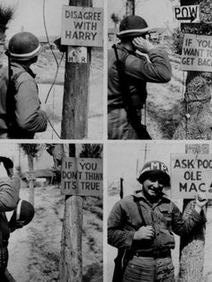 Some GI WAG, remembering those Burma shave cream signs back home, put up these signs on poles along a highway in central Korea that echoed the GI and public feeling over President Truman's dismissal of Gen. Douglas MacArthur as Commander in the Far East, April 22, 1951. A military policeman patrolling the road scratches his head as he reads the series.