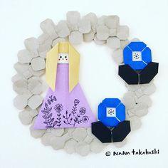 冬っぽい色合いだとオトナなカンジ❄️ Winter color scheme prevails chic ambiance. #origami  #papercraft  #wreath  #wintercolor #paperflower  #nanatakahashi  #おりがみ  #ペーパークラフト #リース #冬色 #お花 #たかはしなな