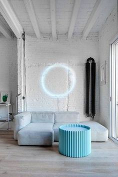 wall decor ideas for living room light blue neon sign