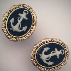 I wish these were earrings NOT plugs Stretched Ears, Rockabilly, Plugs, Nautical, Jewelry Accessories, Cufflinks, Navy Blue, Chic, Anchors
