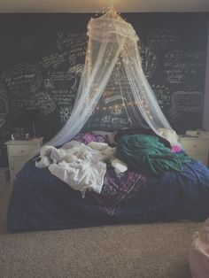 Chalkboard wall quotes chalk tumblr teen purple blue canopy fairy lights bed bedroom IKEA diy