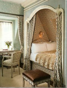home design Multi-Use Design-this is just gorgeous right down to the rustic ceiling! Lonny Magazine - Accessible Home Design Alcove Bed, Bed Nook, Built In Bed, Attic Rooms, Attic Bed, Cozy Bed, Cozy Nook, Cosy, Deco Design
