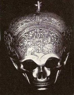 The Seton Watch-Large SKULL WATCH given by Mary Queen of Scots to Mary Seton. The forehead of the skull is engraved with a figure of death between a palace and a cottage, and a quotation in Latin meaning 'pale death visits with impartial foot the cottages of the poor and the castles of the rich' (Horace). The skull is held upside down and the jaw lifted to read the silver dial. The hour is struck on a bell. Made by Moyant A Blois (1570-90).