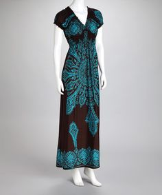 Take a look at this Turquoise Arabesque Maxi Dress - Women & Plus by Life and Style Fashions on #zulily today!
