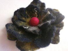 Wool flower felt flower brooch hand wet by FahionFeltProducts