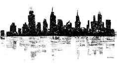 Image result for line drawing skyline chicago