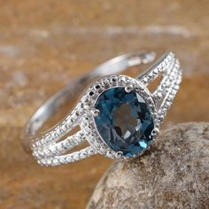 London Blue Topaz and Diamond Ring in Platinum Overlay Sterling Silver (Nickel Free)