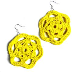 Yellow crochet earrings - Leccio51 ($16) ❤ liked on Polyvore