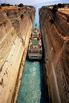 Passenger ship on the Corinthian Canal, Greece.  This place is amazing and so worth going to see. Loved it.