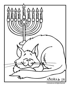 hanukkah coloring page with cat