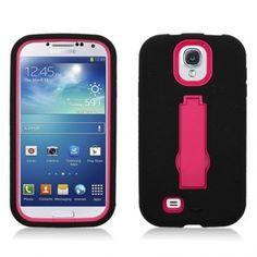Samsung Galaxy S IV/ Galaxy S4 Black Skin/Pink Kick Stand Hybrid Case
