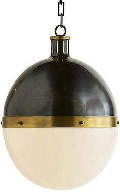 Hicks Pendant, Bronze/Antiqued Brass - Visual Comfort & Co. Bronze Floor Lamp, Black Floor Lamp, Visual Comfort, Antique Brass Chandelier, Bronze Pendant, White Gold Jewelry, Glass Shades, Light Fixtures, Ceiling Lights