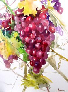 Red purple grape painting original wateroclor by ORIGINALONLY, $32.00