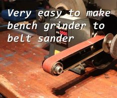 One Hour Bench Grinder to Belt Sander Build - metal shop Knife Grinder, Bench Grinder, Homemade Tools, Diy Tools, Diy Belt Sander, Belt Grinder Plans, Knife Making Tools, Metal Shaping, Metal Welding