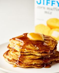Cornbread Pancakes - The Best Use for Jiffy Corn Muffin Mix Corn Pancakes, Corn Muffins, Butter Pancakes, Cornmeal Pancakes, Pancake Muffins, Jiffy Mix Recipes, Jiffy Cornbread Recipes, Cornmeal Recipes, Cornbread Waffles