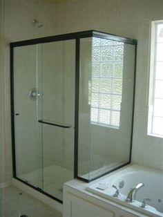 Glass Shower doors with black frame Light Glass Shower Doors | Lightweight Glass Shower Door Replacement | Kansas City | Precision Glass