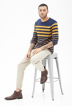 Graduating Striped Crew Neck | 21 MEN - 2000121019