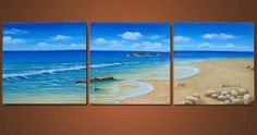 Hawaii Beach Blue Sea 100% Hand Painted Modern Oil Painting Canvas Art Wall Art Home Decoration 3 Piece Wall Art Unframe and Unstretch by Gaoya, http://www.amazon.com/dp/B009Z8QD86/ref=cm_sw_r_pi_dp_O4d8qb0NDRTSQ