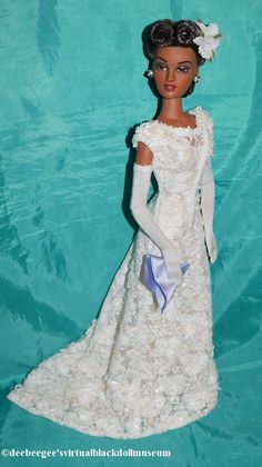 Special Appearance Violet Waters – DeeBeeGee's Virtual Black Doll Museum™ Doll Museum, Victory Rolls, African American Dolls, Doll Stands, White Gowns, White Orchids, White Beads, Fashion Dolls, Hair Styles
