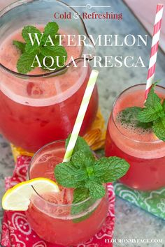 How to Make Watermelon Aqua Fresca: Cool off at your next bbq with a cold refreshing glass of this easy watermelon beverage. via flouronmyface.com