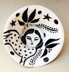 DIADIA,black and white ceramic plate