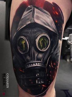 Realistic Masked Man Tattoo