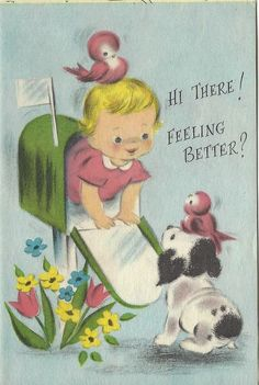 Vintage Greeting Card, Get Well, Cute Little Girl, Puppy Dog, Mailbox, Puzzle