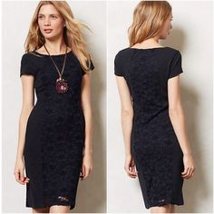 Moulinette Soeurs navy sheath dress Moulinette Soeurs Jocelyn dress for Anthropologie. Simple and elegant navy sheath dress. Short sleeve, jewel neck. Beautiful lace panel inserted into dress, running down the length of dress (and mirror image of dress in back, also) Difficult to photograph the detail of the lace, but the entire dress is all the same shade of navy blue. The lace is very subtle. Anthropologie Dresses