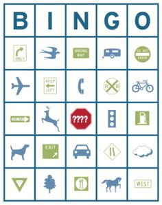 Car Trip Bingo.  Necessary with family at least seven hours away!