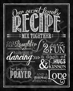 Scripture Art  Family Recipe  Chalkboard by ToSuchAsTheseDesigns