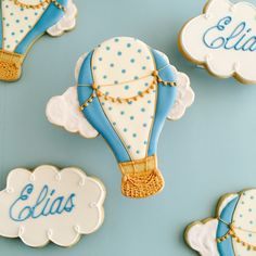 Hot air balloons baby shower cookies