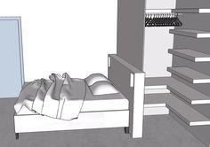 Le dressing est construit à l'arrière de la tête de lit.  Il est divisé en 2 parties symétriques avec chacune une penderie et de nombreuse étagères