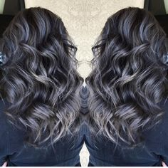"""Beautiful silver gray highlights over smoky darkest brunette hair by @sydniiee She has such a talent for smoky hair color designs as well as vibrant a and…"""
