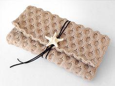 ニットクラッチバッグ-Diamond(L)-BEG - Beyond the reef 一つ一つ丁寧に編み上げるハンドメイドのクラッチバッグ