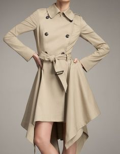Absolutely gorgeous draping on this trench coat.  Much more flirty :)