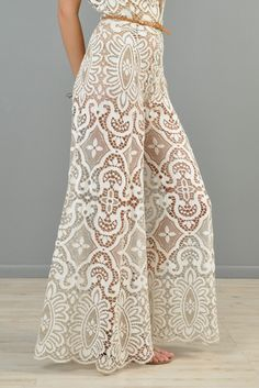 Mix summer fashion with winter staples 1960s Fashion, Boho Fashion, Vintage Fashion, Womens Fashion, Fashion Design, Bridal Jumpsuit, Lace Jumpsuit, Lace Pants, Fashion Pants